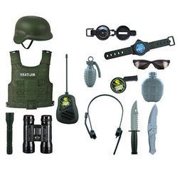 14 Set Kid Boys Army Swat Toy Kit - Hero Costumes Helmets Mo