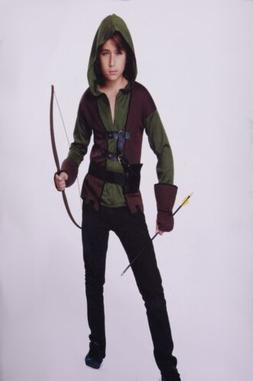 Boys Robin Hood Halloween Costume Shirt Vest Gauntlets Hunte
