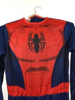 Boys Spiderman Costume Large Marvel Jumpsuit 1 Piece Hallowe