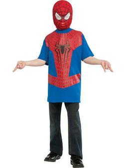 Boys Spiderman The Amazing Spider-Man T-Shirt And Mask Costu