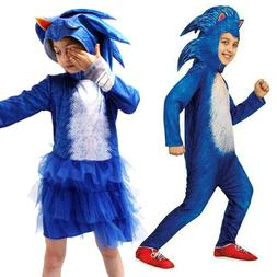 Kids Girls Boys Sonic The Hedgehog Jumpsuit Hooded Outfit Pa