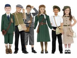 Kids Wartime Costume School Boys Girls World War Evacuee Boo