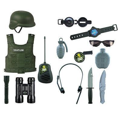 14 Set Kid/'s Boys Fancy Army Costumes Helmets Model Hero Role Play Toy Kits