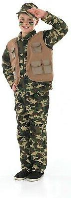 Boys Army Costume S -  XL Kids Soldier Fancy Dress Children