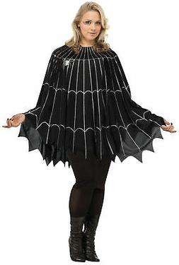 Womens Silver Black Spiderweb Poncho Gothic Plus Size Hallow